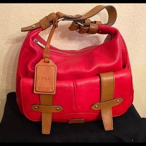 Ralph Lauren Red Leather Shoulder Bag
